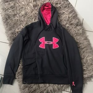 Grey and Pink Under Armour Sweatshirt